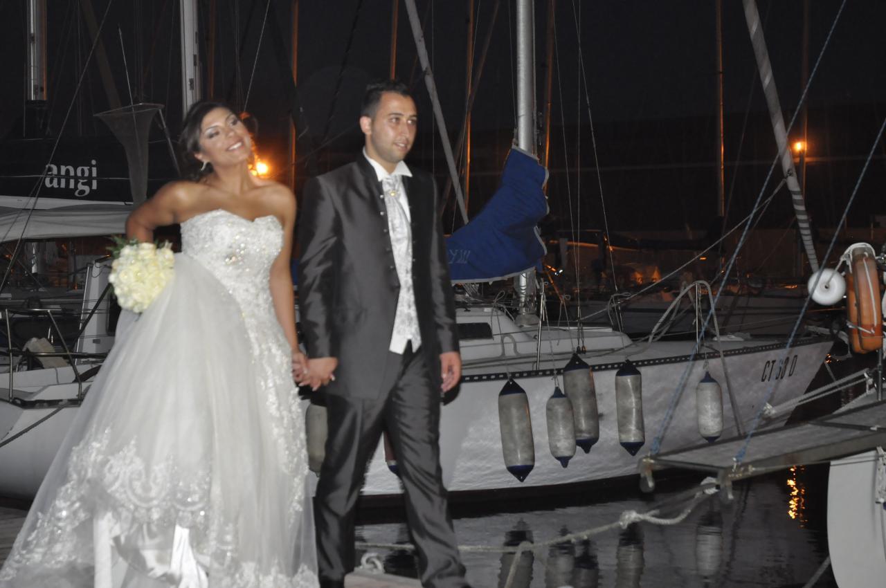 les mariés sur le ponton